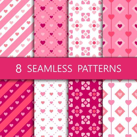 Photo pour Set of pink heart seamless pattern, vector illustration - image libre de droit