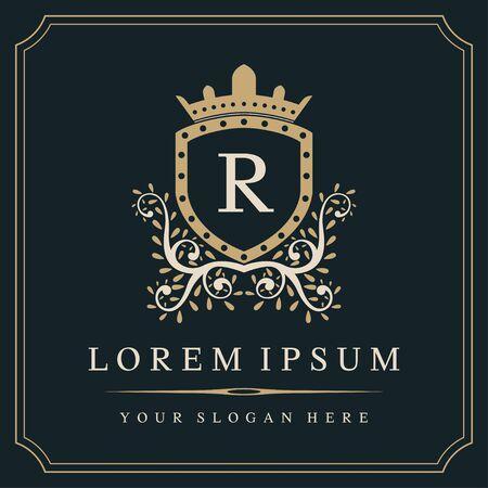 Illustration for Luxury monogram logo template, letter R logo design, vector illustration - Royalty Free Image