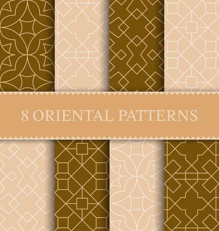 Illustration for Set of traditional arabian seamless pattern, vector illustration - Royalty Free Image