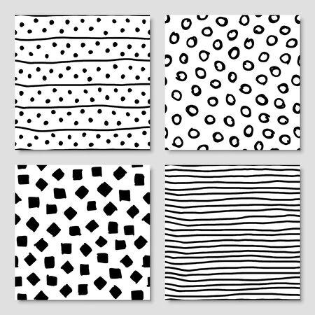 Illustration pour Set of hand drawn ink seamless pattern, vector illustration - image libre de droit