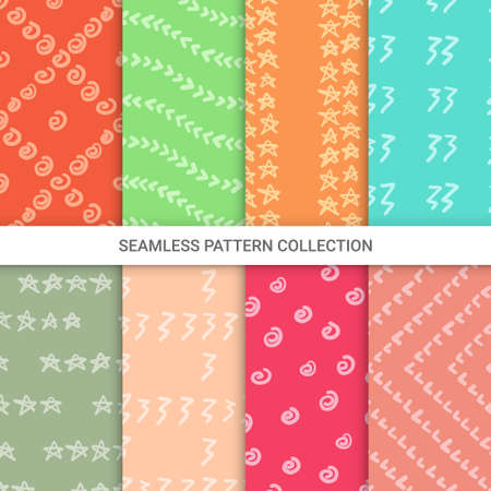 Illustration pour Set of textures made with ink, seamless pattern, vector illustration - image libre de droit