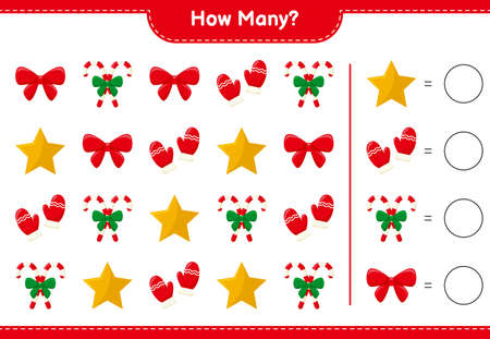 Illustration for Counting game, how many Gingerbread Man. Educational children game, printable worksheet, vector illustration - Royalty Free Image