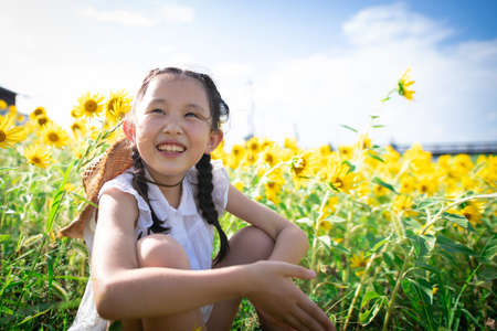 Photo for Girl playing in the sunflower field - Royalty Free Image