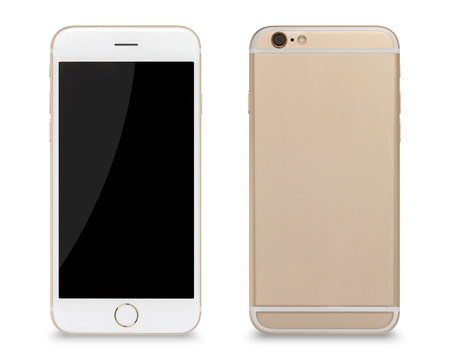 Photo pour Smartphone, front and back sides of smartphone modern touch screen isolated on white background. - image libre de droit