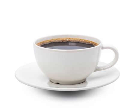 Photo pour White cup of black coffee isolated on white background with clipping path - image libre de droit