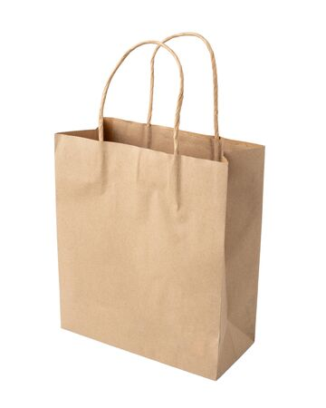 Photo pour Brown shopping bag with handles Isolated on white background. - image libre de droit