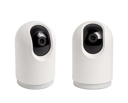 Photo pour Security wireless camera, Video Indoor IP security camera, Wall mounted bullet camera, CCTV security camera operating in home isolated on white background. - image libre de droit