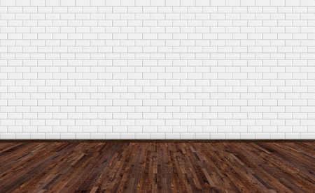 Photo pour Empty room with dark brown ash wood floor and classic white metro tiles wall. Long wide picture of empty living space room for design interior. - image libre de droit
