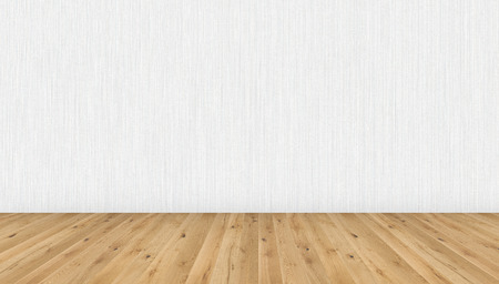 Photo pour Empty room with brown wooden floor and white striped wallpaper. 3D illustration of empty living space room for design interior. - image libre de droit