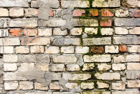 Photo for Old dirty moldy and mossy brick wall with peeling plaster background. - Royalty Free Image