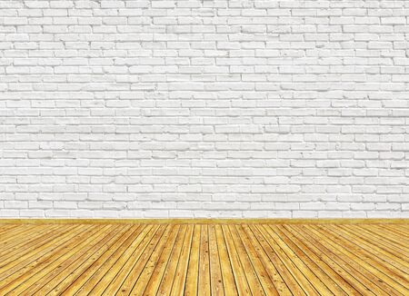 Photo for 3D rendering mockup of empty living room with vintage wooden parquet floor and white painted brick wall. Can be used for design interior. - Royalty Free Image