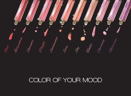 Colored emotions lip gloss set on black background. Vector illustration