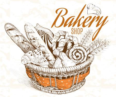 Illustration pour Vintage graphic style  bakery basket. Vector illustration - image libre de droit