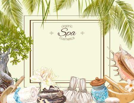 Illustration pour Tropic style spa treatment colorful frame with lotus,shells, frangipani and stones .Design for cosmetics, store,spa and beauty salon,natural and organic health care products. Vector illustration. - image libre de droit