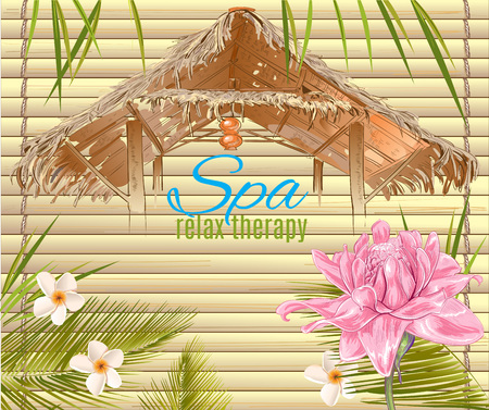 Illustration pour Spa treatment banner with lotus and bungalow roof. Design for cosmetics, store,spa and beauty salon, organic health care products. Can be used as  design. Vector illustration. - image libre de droit