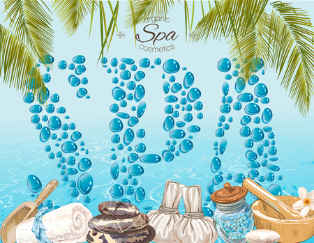Tropic Style Spa Treatment Colorful Banner With Water Drops Letters On Water Shine Background Design Beauty Salon Natural And Organic Health Care Products Vector Illustration Stock Images Page Everypixel