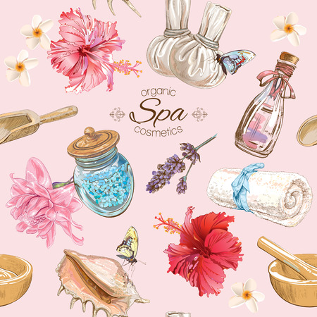 Illustration pour Vector spa seamless pattern with lotus,shells and hibiscus flowers.Background design for cosmetics, spa and beauty salon, organic health care products. Best for texture, fabric print, wrapping paper. - image libre de droit