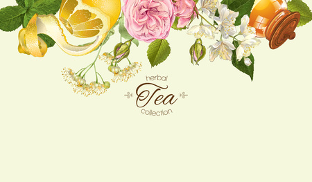 Illustration pour Vector herbal tea horizontal banner with rose and Jasmine flowers, lemon and honey. Design for tea, juice, natural cosmetics, baking,candy and sweets,grocery,health care products. With place for text. - image libre de droit