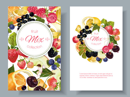 Illustration pour Vector fruit and berry banners. Design for juice, tea, ice cream, jam, natural cosmetics, sweets and pastries filled with fruit, dessert menu, health care products. With place for text - image libre de droit