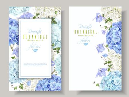Ilustración de Hydrangea banners blue - Imagen libre de derechos