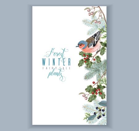Ilustración de Bird winter border - Imagen libre de derechos