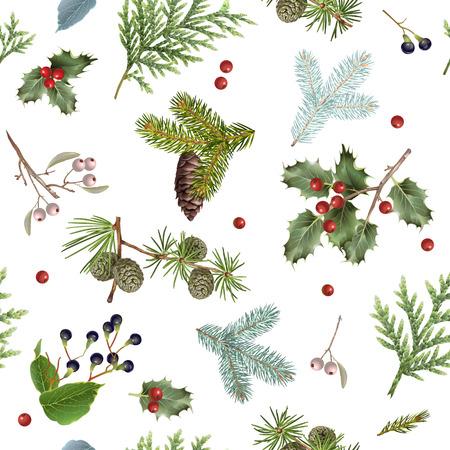 Illustration pour Branch Christmas pattern - image libre de droit