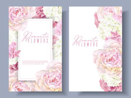 Illustration pour Peony pink banners - image libre de droit
