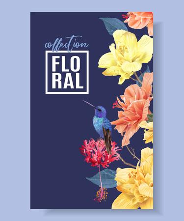 Illustration for Tropic floral border - Royalty Free Image