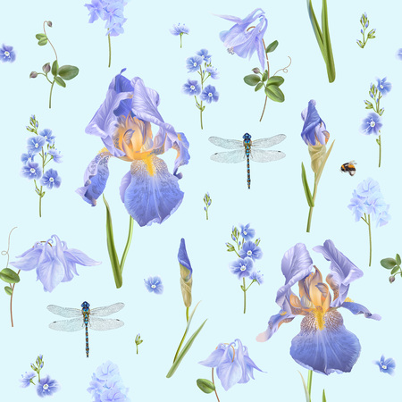 Illustration pour Vector botanical seamless pattern with blue flowers and dragonfly on light blue. Floral background for natural cosmetics, perfume, women products, greeting or wedding card, wrapping paper, fabric - image libre de droit