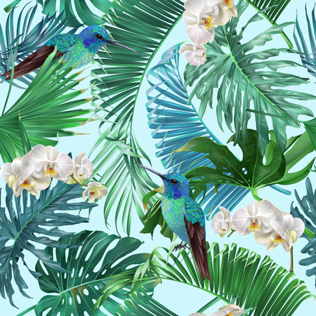 Illustration pour Vector tropical seamless pattern with orchid flowers and hummingbird on blue. Exotic botanical design for cosmetics, spa, perfume, health care products, greeting, wedding background, wrapping paper - image libre de droit