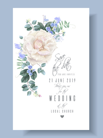 Photo for Vector vintage floral wedding card with rose - Royalty Free Image