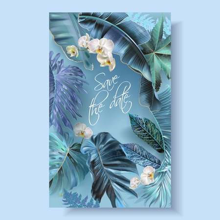Vector vertical wedding invitation card with blue, turquoise, purple tropical leaves and orchid flowers. Save the date botany design for wedding ceremony. Can be used for cosmetics, beauty salon