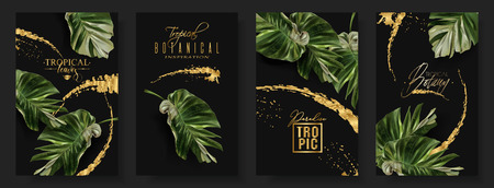Illustration for Vector tropical alocasia leaf banner set on black background. Exotic botany for cosmetics, spa, perfume, health care products, aroma, tourist agency. Best as wedding invitation. With place for text - Royalty Free Image