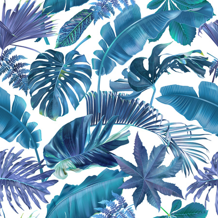 Illustration pour Vector seamless pattern with blue and violet tropical leaves on white background. Exotic botanical background design for cosmetics, spa, textile, hawaiian shirt. Best as wrapping paper, wallpaper - image libre de droit