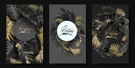 Ilustración de Vector round banners set with gold and black tropical leaves on dark background. Luxury exotic botanical design for cosmetics, spa, perfume, aroma, beauty salon. Best as wedding invitation card - Imagen libre de derechos