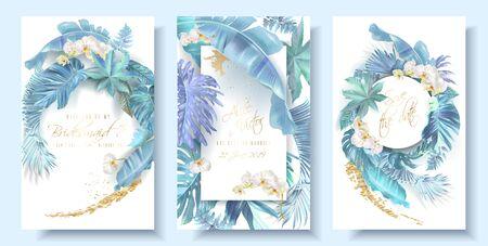 Photo pour Tropical blue leaves and orchid wedding cards - image libre de droit