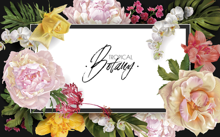 Illustration pour Vector vintage floral frame with garden roses, peonies and tropical leaves on black. Romantic design for natural cosmetics, perfume, women products. Can be used as greeting card or wedding invitation - image libre de droit