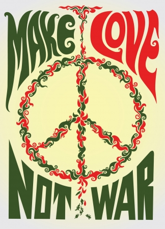 Make love not war hippie illustration