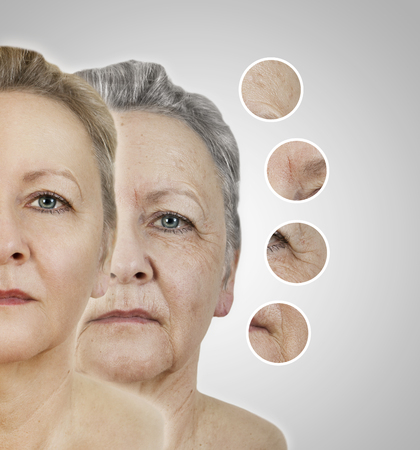 the face of an old woman as collage with smoothed areas