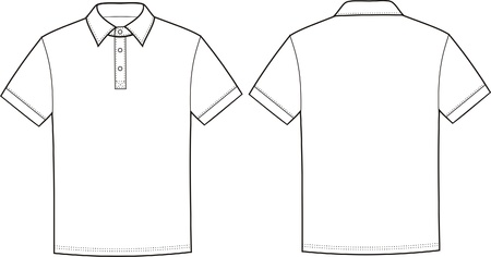Vector illustration of polo t-shirt  Front and back views