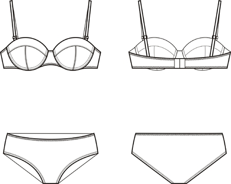 Vector illustration of women s underwear set Bra and panties Front and back  views d584197a9