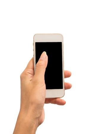 Photo pour Hand hold smartphone on white background - image libre de droit