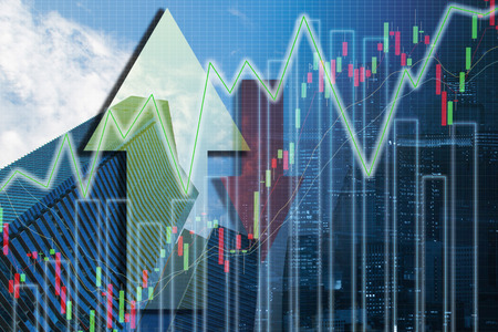 Double exposure trading investment graph on city background