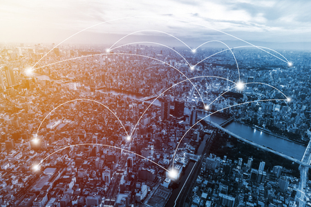 Photo pour Business network connection on city. Vintage filter - image libre de droit