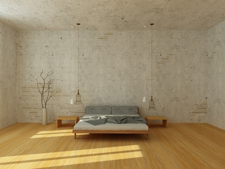 Photo pour Light bedroom with white brick wall and stucco, with wooden floor, modern chandelier, rays of sun - image libre de droit
