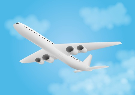 Illustration for Flat icon of flying airplane with clouds on blue background - Royalty Free Image