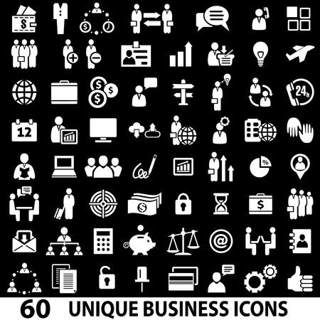 Illustration pour Set of 60 business icons. White and black - image libre de droit
