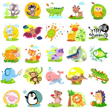 Vector illustration of cute animals and birds: wolf, raccoon, alligator, deer, owl, rabbit, bat, turtle, giraffe, zebra, yak, fox, cow, quail, bird, elephant, monkey, whale, numbat, iguanas, sheep, penguin, bear, lion, hedgehog, X-Ray Fish, bunny, hare