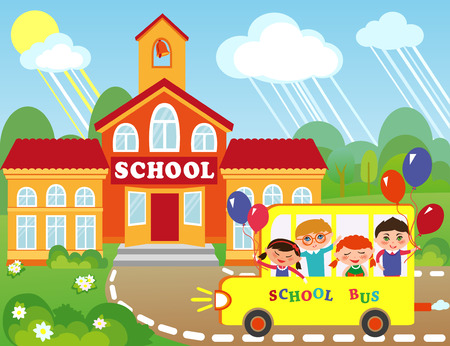 Illustration of cartoon school building. Children are going to school by bus.