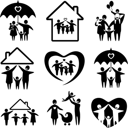 Foto de Big set of family icons. Happy family concepts: father, mother, daughter and son together. - Imagen libre de derechos